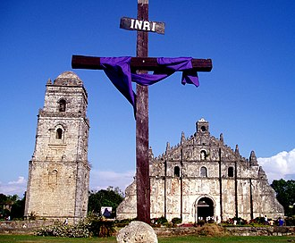 Colonial architecture - Paoay Church Ilocos Sur Philippines is a fine example of Spanish Earthquake Baroque only found in the Philippines