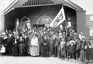 Greytown, New Zealand - The opening of the Māori Parliament at Pāpāwai, 1897, attended by Premier Richard John Seddon.