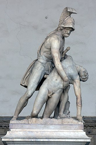 Patroclus - The body of Patroclus borne by Menelaus, Roman sculpture, Florence, Italy
