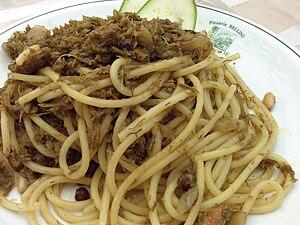 Pasta con le sarde - Pasta con le sarde prepared in Palermo, Sicily