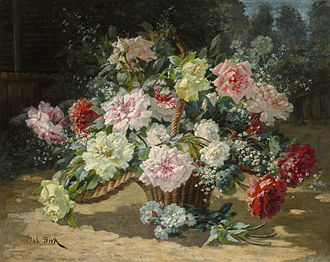 Paul Biva - Paul Biva, A basket of roses (Fresh from the garden), oil on canvas, 73.1 x 92.6 cm