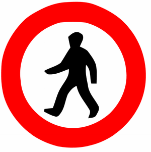 English: Pedestrians prohibited sign in Israel