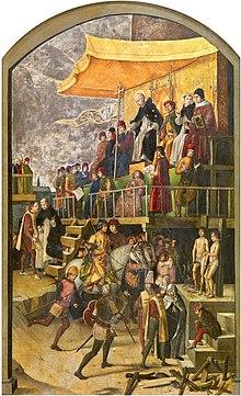 Pedro berruguete sv dominik předsedá autodafé 1475