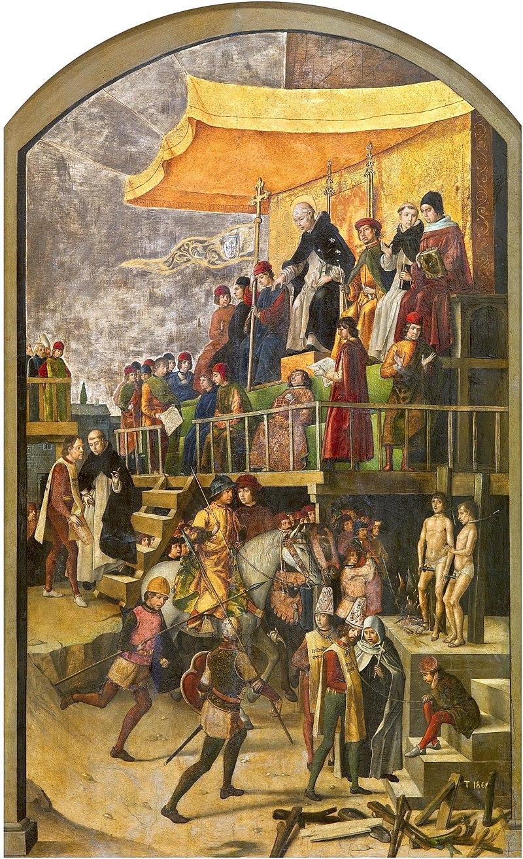 Yo soy catalán - Página 21 800px-Pedro_Berruguete_Saint_Dominic_Presiding_over_an_Auto-da-fe_1495