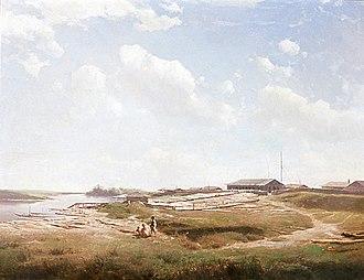 Eduard Peithner von Lichtenfels - View of the Donau with Lumberyard (c. 1860), Universalmuseum Joanneum