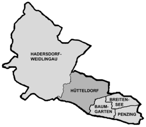 Hütteldorf - Map of Hütteldorf as part of Penzing