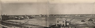 Leader-Post - The first Leader Building with surrounding town, Regina, 1884