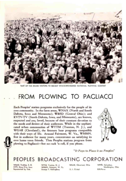 "Advertisement for Peoples Broadcasting Corporation aka Nationwide Communications Corporation, later known as Nationwide Communications Corporation, a subsidiary of the Nationwide Mutual Insurance Co. (Note the Nationwide ""eagle"" logo inside the Peoples microphone logo)"