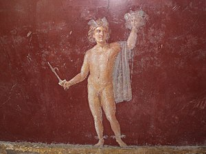 Perseus - Perseus and the head of Medusa in a Roman fresco at Stabiae