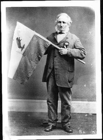 Flag of California - The original 1846 Bear Flag with its designer, Peter Storm, c. 1870
