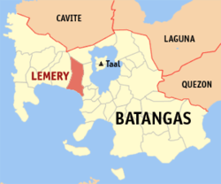 Map of Batangas showing the location of Lemery.