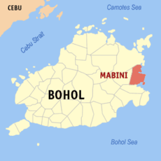 Map of Bohol showing the location of Mabini