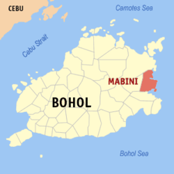 Map of Bohol with Mabini highlighted
