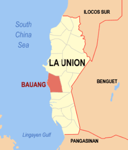 Map of La Union showing the location of Bauang