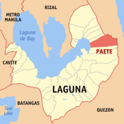 Map of Laguna showing the location of Paete