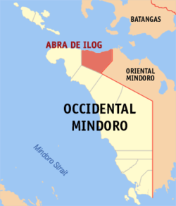 Mapa ti Occidental Mindoro a mangipakita ti lokasion ti Abra de Ilog, Occidental Mindoro.