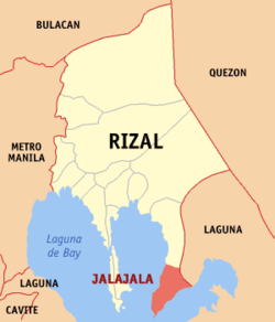 Map of Rizal showing the location of Jalajala