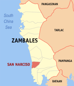 Map of Zambales showing the location of San Narcizo.
