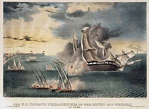 William Bainbridge - ''Philadelphia'' aground off Tripoli, in 1803.