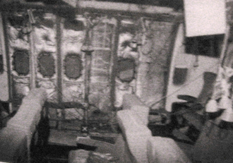 Ramzi Yousef - United States Diplomatic Security Service photograph showing the damaged interior of PAL 434 after the bombing. The explosion punched a hole, visible in the lower center of the photo, through the floor below seat 26K into the center cargo bay.