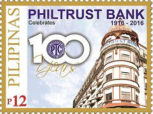 Philtrust Bank - A 2016 stamp dedicated to the 100th anniversary of Philtrust Bank
