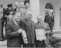 Photograph of Collier's Congressional Award presentation ceremony at the White House, (from left to right) Senator... - NARA - 199587.tif