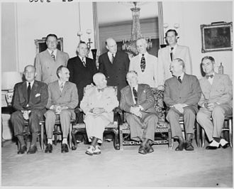 Charles F. Brannan - The members of Truman's cabinet in August, 1949, from left to right: Alben W. Barkley, Dean G. Acheson, Truman, John W. Snyder, Louis A. Johnson, Tom C. Clark, Jesse M. Donaldson, Julius A. Krug, Brannan, Charles W. Sawyer and Maurice J. Tobin