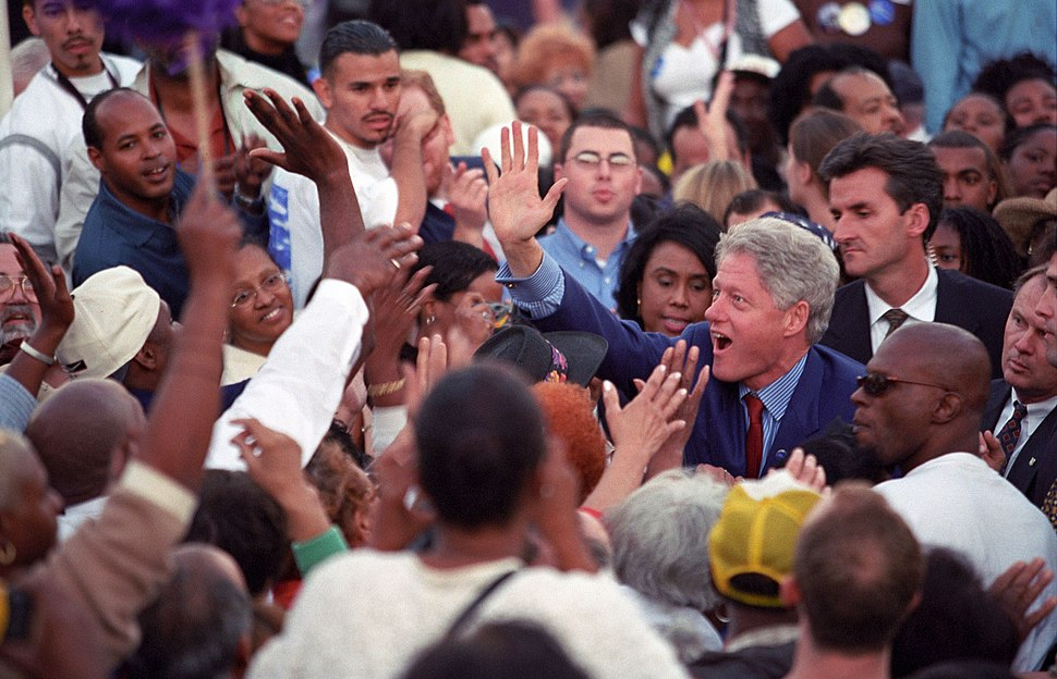 Photograph of President William Jefferson Clinton Greeting People in a Large Crowd at a %22Get Out the Vote%22 Rally in Los Angeles, California, 11 02 2000.jpg