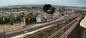 Laon - The funicular, view from the upper town.