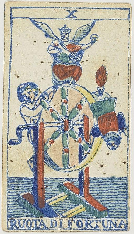 Piedmontese tarot deck - Solesio - 1865 - Trump - 10 - Wheel of Fortune