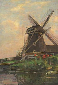 Piet Mondriaan - Oostzijdse mill, vertical oil sketch with blue sky - A414 - Piet Mondrian, catalogue raisonné.jpg