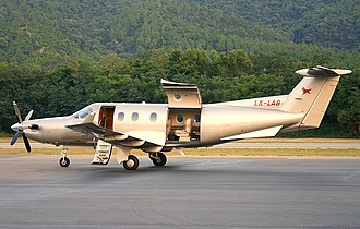 Utility aircraft - A Pilatus PC-12 utility aircraft, also used as a business aircraft