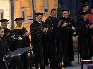 Mark Nordenberg - Chancellor Nordenberg (fourth from left) in full academic regalia during Pitt's graduation commencement exercises in 2007