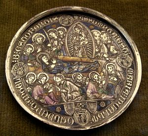 Basse-taille - Medallion of the Death of the Virgin, with damaged basse-taille enamel