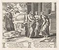 Plate 15- Psyche telling her sisters about her misfortunes, with her sisters falling off of a precipice at upper left, from the Story of Cupid and Psyche as told by Apuleius MET DP862821.jpg