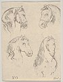 Plate 16- four studies of horse heads, from 'Various heads and figures' (Diverses têtes et figures) MET DP831160.jpg