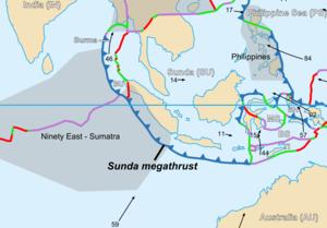 1833 Sumatra earthquake - Image: Plate setting Sunda megathrust