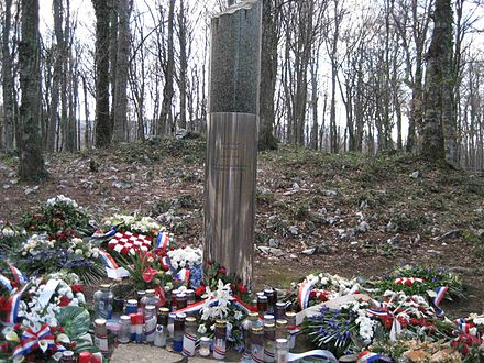 A monument to Josip Jovic, widely perceived in Croatia as the first Croatian victim of the war, who died during the Plitvice Lakes incident Plitvice Lakes incident, memorial, of the first killed croatian policemen.JPG
