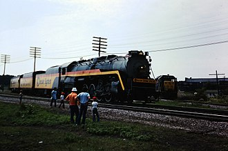 "Chessie System - The former Reading 2101 leading the ""Chessie Steam Special"" into Plymouth, Michigan in 1977."