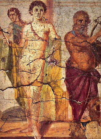 Hermaphroditus - Hermaphroditos, holding a torch and a kantharos, between Silenus (right) and maenad (left); Roman fresco from the triclinium of the procurator in the Casa del Centenario (IX 8,3–6) in Pompeii.