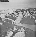 Portage Glacier, terminus of valley glacier, hanging glaciers, September 10, 1972 (GLACIERS 5048).jpg
