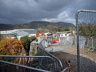 Porthmadog cross town link - A small bridge being reconstructed for the track to be laid