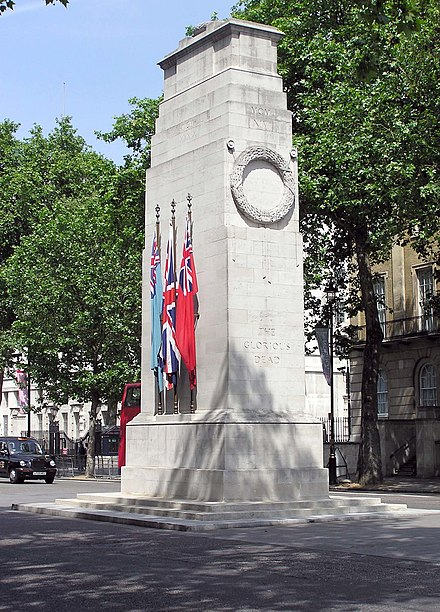 The Cenotaph, in Whitehall, London, is made from Portland stone Portland.stone.cenotaph.london.arp.jpg