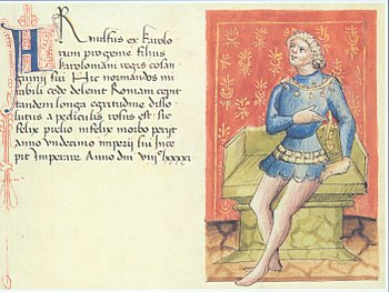 Late medieval portrait of Emperor Arnulf from a manuscript in the Liber Augustalis by Benvenuto de Rambaldis, completed in 1387