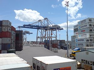 Ports of Auckland - Containers and container cranes on Fergusson Wharf.