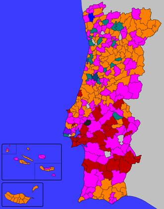 Portuguese local elections, 2005 - Most voted parties or coalitions in each Municipality. Municipality won by ■ - PSD ■ - PS ■ - CDU ■ - BE ■ - CDS–PP ■ - PSD-CDS–PP ■ – PSD-CDS–PP-PPM ■ - PSD-CDS–PP-PPM-MPT   ■ - Independents