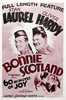 <i>Bonnie Scotland</i> 1935 slapstick comedy movie with Stan Laurel and Oliver Hardy directed by James W. Horne