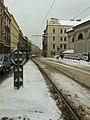 Praha, Smíchov, Bertramka, sníh na přechodu.JPG