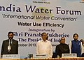 Pranab Mukherjee at the inauguration of the International Water Convention India Water Forum organized by the Energy and Resources Institute (TERI), in New Delhi. The Union Minister for Water Resources, Shri Harish Rawat.jpg