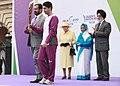 Pratibha Devisingh Patil witnessing the starting of Baton Relay by Olympian Shri Abhinav Bindra with the Chairman of Organising Committee, Commonwealth Games 2010 Delhi.jpg